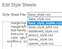 The site's style sheet being edited.